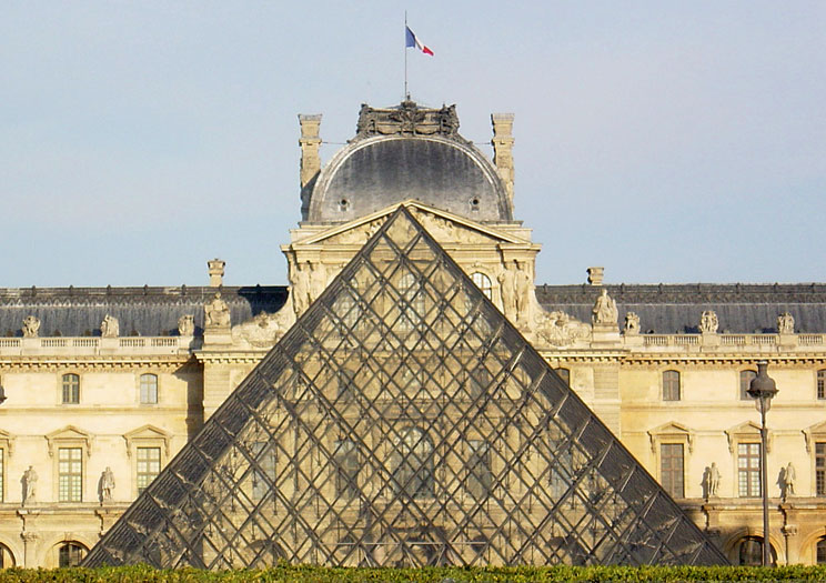 Louvre Pyramids: On axis