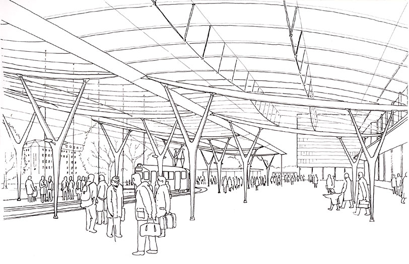 Wurzburg Station Canopy: Internal perspective