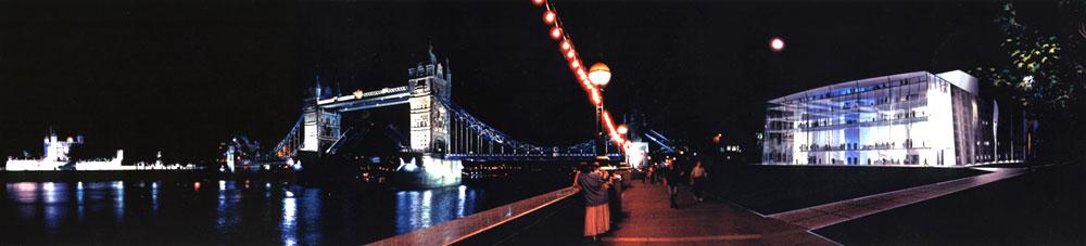Tower Bridge Theatre: External perspective (night)
