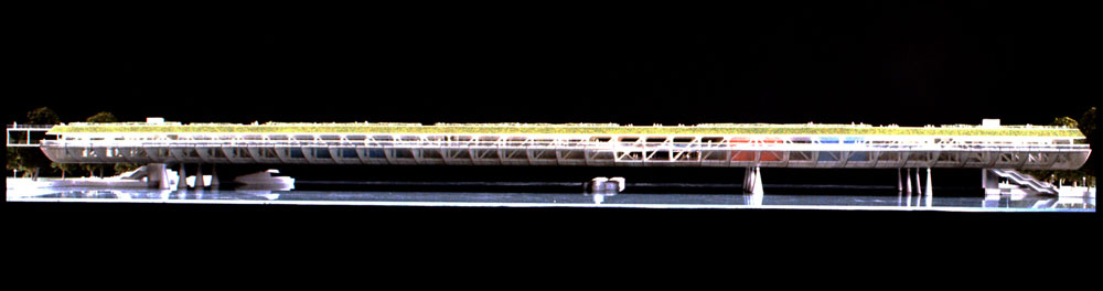 River Thames Habitable Bridge: Model side elevation