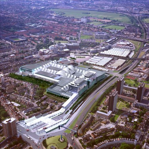 White City Commercial Development: Aerial view, day