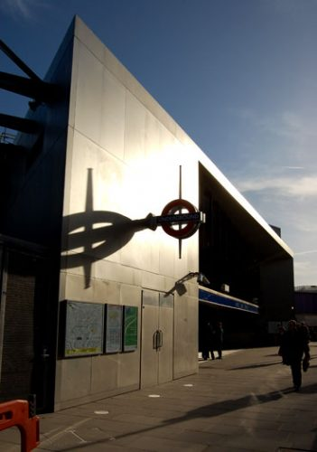 Wood Lane Station: Entrance at sunset