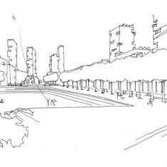 Woodberry Down Masterplan: Sketch perspective