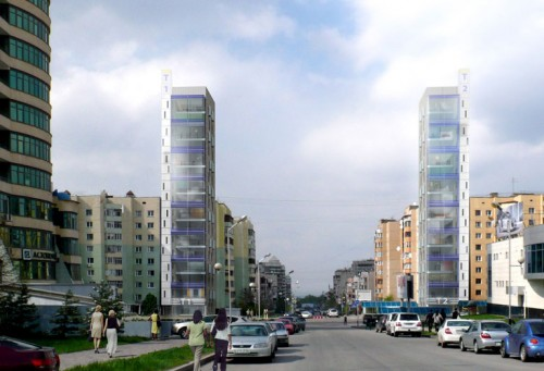 Al Farabi Street Towers: Back road perspective (day)