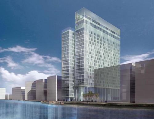 Allied Irish Bank Capital Headquarters: Perspective 1 across river Liffey