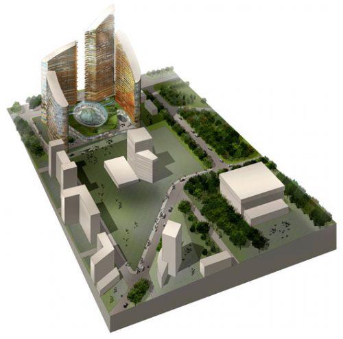 Satpaeva Street: Aerial perspective