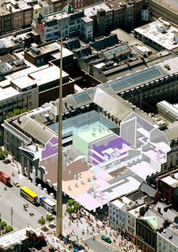 Abbey Theatre: Cut-away aerial perspective