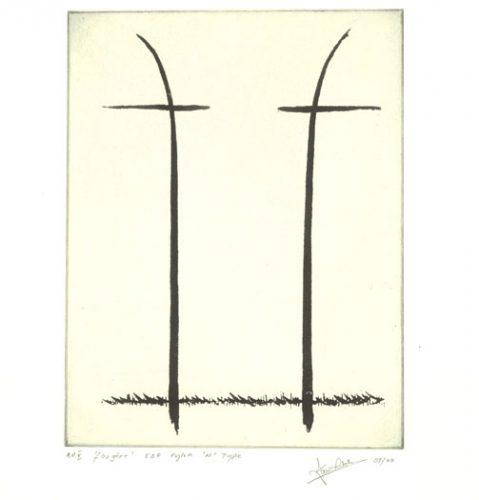 EDF V.H.V Pylons. Etching by Ian Ritchie