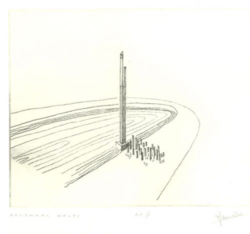 Landmark Wales. Etching by Ian Ritchie