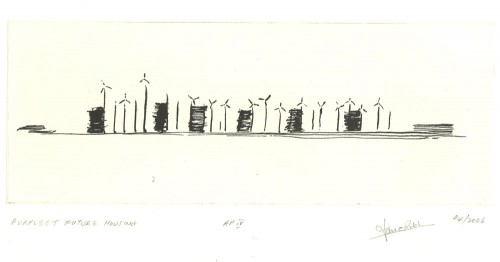 Purfleet Cory's Wharf. Etching by Ian Ritchie