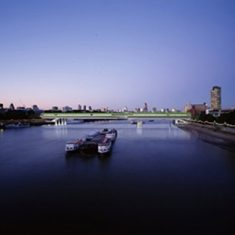 Living Bridge, looking east, Thames, London 1998