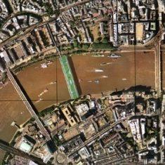 Living Bridge, aerial view, Thames, London 1998