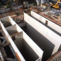 Bermondsey Station, GGBS walls under construction