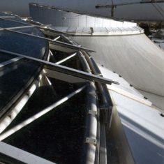 Polytetrafluorethylene Light-transmitting insulated fabric roof, La Villette, France, 1985