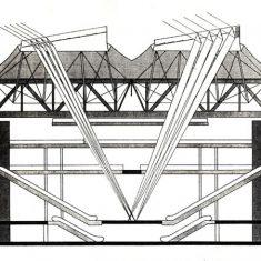 Robotic mirrors drawing 'focussing', La Villette, Paris, France, 1984