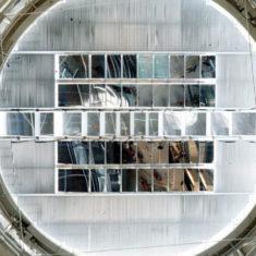 Robotic mirrors installed, La Villette, Paris, France, 1986