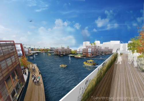(c) Ian Ritchie Architects Ltd - Royal Docks view looking west towards Canary Wharf