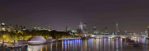 RSC Temple_Waterloo Bridge High Tide Night_© Ian Ritchie Architects Ltd