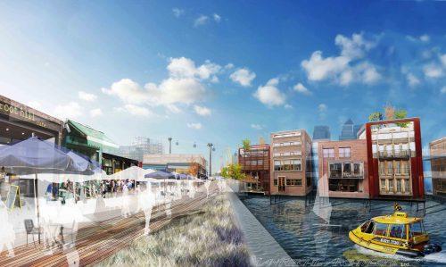 Royal Docks Development Strategy - Royal Victoria Dock Boardwalk View (c) Ian Ritchie Architects Ltd